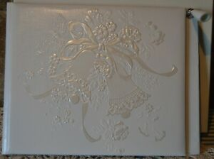 BEAUTIFUL HALLMARK WEDDING GUESTS BOOK W PEN HOLDER~RAISED WEDDING BELLS FRONT