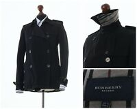 Women's BURBERRY Short Trench Coat Jacket Cotton Linen Black Size S 6