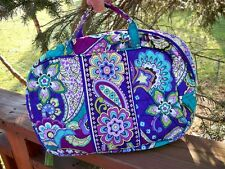 VERA BRADLEY Grand Cosmetic MakeUp Travel Bag Media Case Heather FREE SHIP