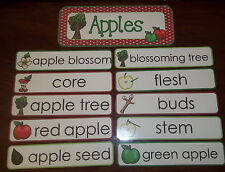 Apples themed Weekly Word Word Wall Signs.  Daycare business supplies.  Homescho
