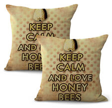 Us Seller-set of 2 bee hive keep calm honey bees cushion cover decorative pillow