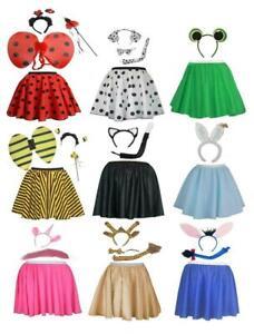 Childs Animal Set Fancy Dress Kids Book Week Ears Tail & Skater Skirt