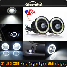 "3"" White LED COB DRL Halo Projector Lens Fog Driving Lights Lamp Kit Universal"