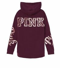 NIP Victoria Secret PINK Gold Bling Campus Pullover Hoodie Maroon Sz Large NEW