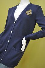 Ralph Lauren Womens Gold Tone Crown Crest Navy Blue Cardigan Sweater Sz M