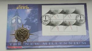 2000 ISLE OF MAN 1 CROWN THE NEW MILLENNIUM BENHAM FDC COIN COVER-#0612