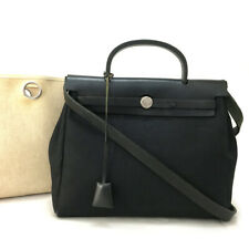 Authentic HERMES Her Bag PM 2in 1way Canvas Leather Shoulder Hand bag /30672