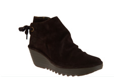 NEW  FLY London Suede Ruched Ankle Boots w/ Tie YEBI Size 8.5 Euro 40 ESPRESSO