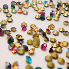 SS28 (6mm) Mixed Colors Point back Rhinestones Glass Chatons Nail Art 144ps U1
