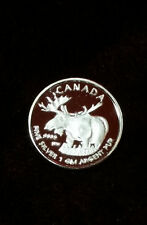 One 1 Gram .999 Fine Silver Canadian Moose Round