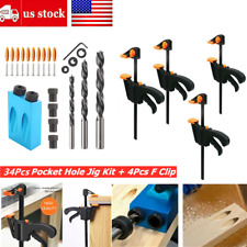 38Pcs 15° Pocket Hole Jig Kit 6/8/10mm Angle Adapter F Clip forWoodworking Guide