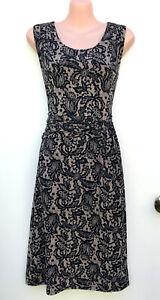 DIANA FERRARI Stretch Jersey Lace Pattern Black & Tan A-Line Ruched Dress 12