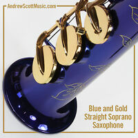 Straight Soprano Saxophone in Case - Blue with Gold Colored Keys - Masterpiece