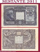 ITALY ITALIA 10 LIRE LUOGOTENENZA 1944 P 32a, sign VENTURA SIMONESCHI  FDS / UNC