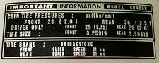 Honda CB450 CB450K Calcomanía Etiqueta de advertencia de precaución del neumático