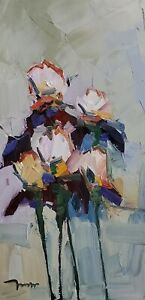 JOSE TRUJILLO Oil Painting IMPRESSIONISM IRISES FLOWERS FLORAL COLLECTIBLE ART