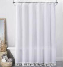 "Opalhouse Textured Dot Fringed Shower Curtain, White, 72"" x 72"""