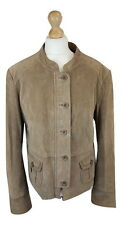 Q069 WS Leather Tan Brown Ladies Button Fastening Suede Jacket, XL