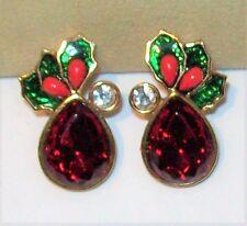 Vtg Big Cherry Red Rhinestone Xmas Earrings Holly Berry Mistletoe Ornament Shape
