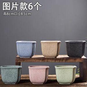 6pcs Solid Terracotta Pot Set Colorful Medium Craft