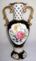 "Royal Dux, Cobalt Blue, Gold, Rose & Flowers, Decorative Vase, 11 1/2"""