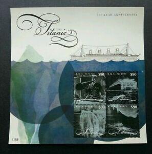 [SJ] Liberia 100th Anniversary Titanic 2012 Ship Transport (sheetlet) MNH
