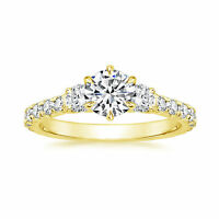 1.09Ct Diamond Hallmarked 14K Yellow Gold Womens Engagement Ring Size N M P
