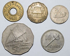 FIJI 50 Cents 1975. 10 Cent 1976. 5 Cent 1969 Half Penny 1942. Three Pence 1960