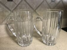 """TWO Mikasa Park Lane Crystal Beer Steins 7""""~MINT CONDITION!"""