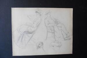 FRENCH SCHOOL CA. 1900 - FIGURE STUDIES - WOMEN AND MAN - BELLE EPOQUE - PENCIL