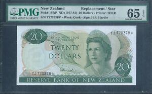 NEW ZEALAND $20 P167d* 1977 REPLACEMENT / STAR PMG 65 EPQ Gem Unc