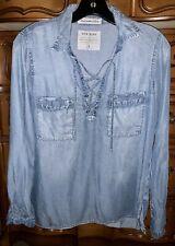 Abercrombie & Fitch Women's Jean Denim Chambray Lace Up Shirt Sz S
