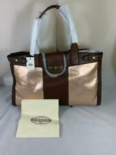 NWT Fossil VRI Weekender Tote Bag in Rose Gold/Brown Leather