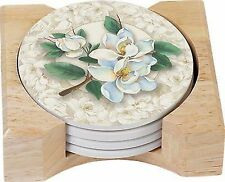 CounterArt Magnolias Design Round Absorbent Coasters in Wooden Holder Set of 4