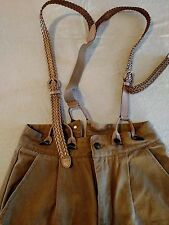 Men's Canvas Stagecoach Y-Back Suspender Pants Tan Pleated 30/35 100% Cotton
