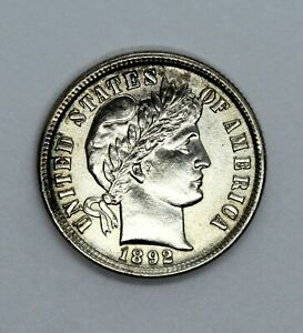 1892 Barber Dime GEM BU Condition Strong Strike UNC Silver 10c Coin