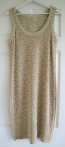 Marc Cain Beige & Gold Metallic Scoop Neck Pencil Dress Size N4 UK 14