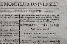 ❤️ Journal Révolution Gazette Nationale ou Moniteur Universel janv. avril 1796