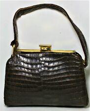 VINTAGE 1940'S BELLESTONE GENUINE CROCODILE SMALL FRAME BAG ANTIQUE BOX PURSE