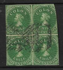 CHILE Sc# 13USED BLOCK of 4, Uncommon Multiple