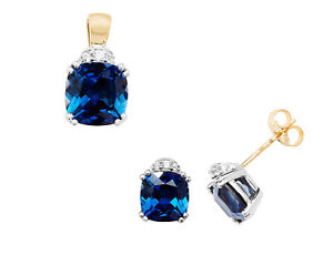 Sapphire Pendant and Earrings Set Faceted Cushion Solid Yellow Gold Hallmarked