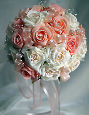 Wedding Flowers, Brides Posy Bouquet Peach & two tone ivory/peach roses diamante