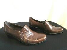 Clarks Brown Leather Medium Heel Loafer Bootie Shoes Sz 8 M