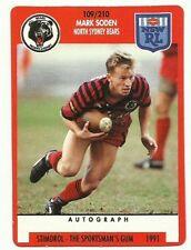 1991 NRL SCANLENS STIMOROL NORTH SYDNEY BEARS MARK SODEN #109 CARD