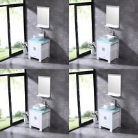 "White 24"" Bathroom Wood Vanity Cabinet Ceramic Sink Set & Mirror Modern Single"