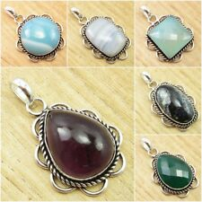 925 Silver Plated ANCIENT FASHION Jewelry ! Real AMETHYST & Other Stones Pendant