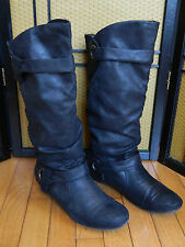 "Womens Black Slouch Crushed ""Suede-Look"" Boots_Tall Mid Calf_Buckle_Size 10"