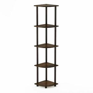 TURN-N-TUBE CORNER RACK SHELF BOOKSHELF  MULTIPURPOSE DISPLAY UNIT BLACK WALNUT