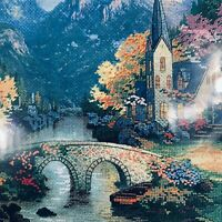 Cross Stitch Kit Thomas Kinkade Candamar Mountain Chapel #51113 New Sealed