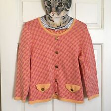 Women's Lilly Pulitzer Cardigan Sweater Top Med Bright  Houndstooth Spring Cute